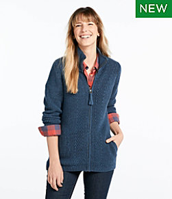 L.L.Bean Shaker-Stitch Sweater, Zip Cardigan