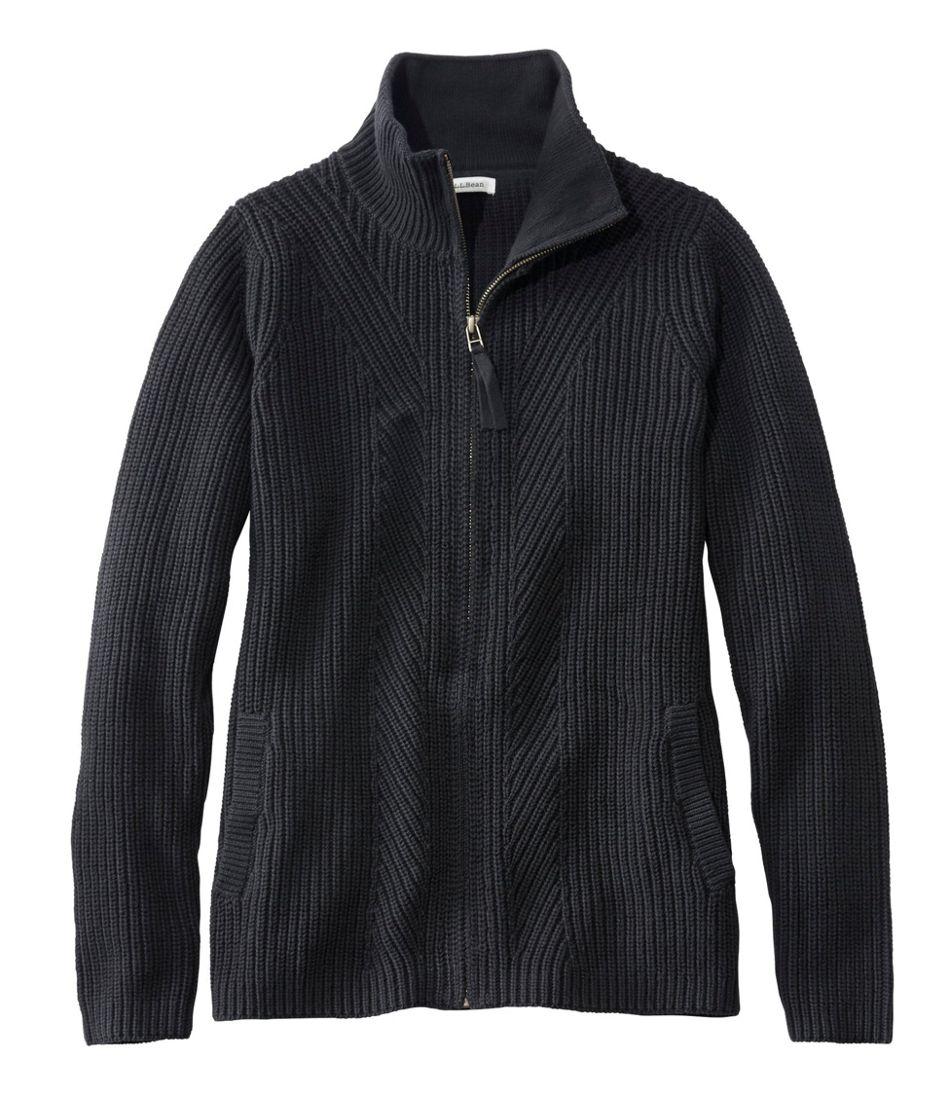 L.L.Bean Shaker-Stitch Sweater, Zip Cardigan
