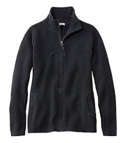 Women's L.L.Bean Shaker-Stitch Sweater, Zip Cardigan