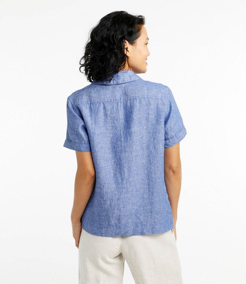 Women's Premium Washable Linen Camp Shirt, Short-Sleeve