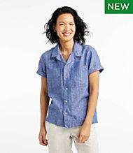 659ade99773f3c Premium Washable Linen Camp Shirt, Short-Sleeve