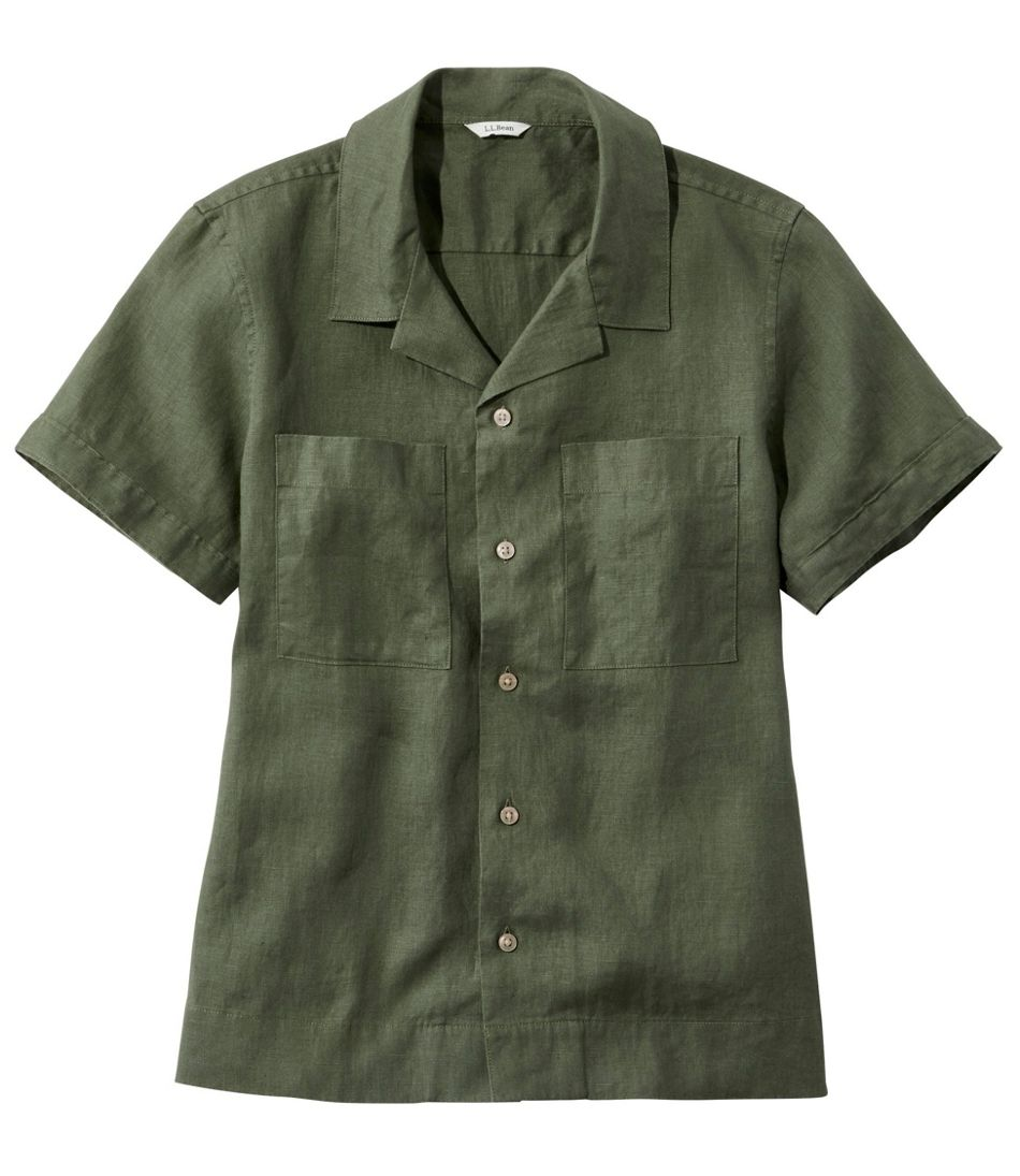Premium Washable Linen Camp Shirt, Short-Sleeve