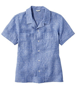 Women's Premium Washable Linen Camp Shirt, Short-Sleeve