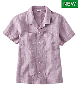 Premium Washable Linen Camp Shirt, Short-Sleeve