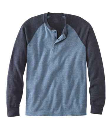 Men's Washed Cotton Double-Knit Henley, Long-Sleeve, Colorblock