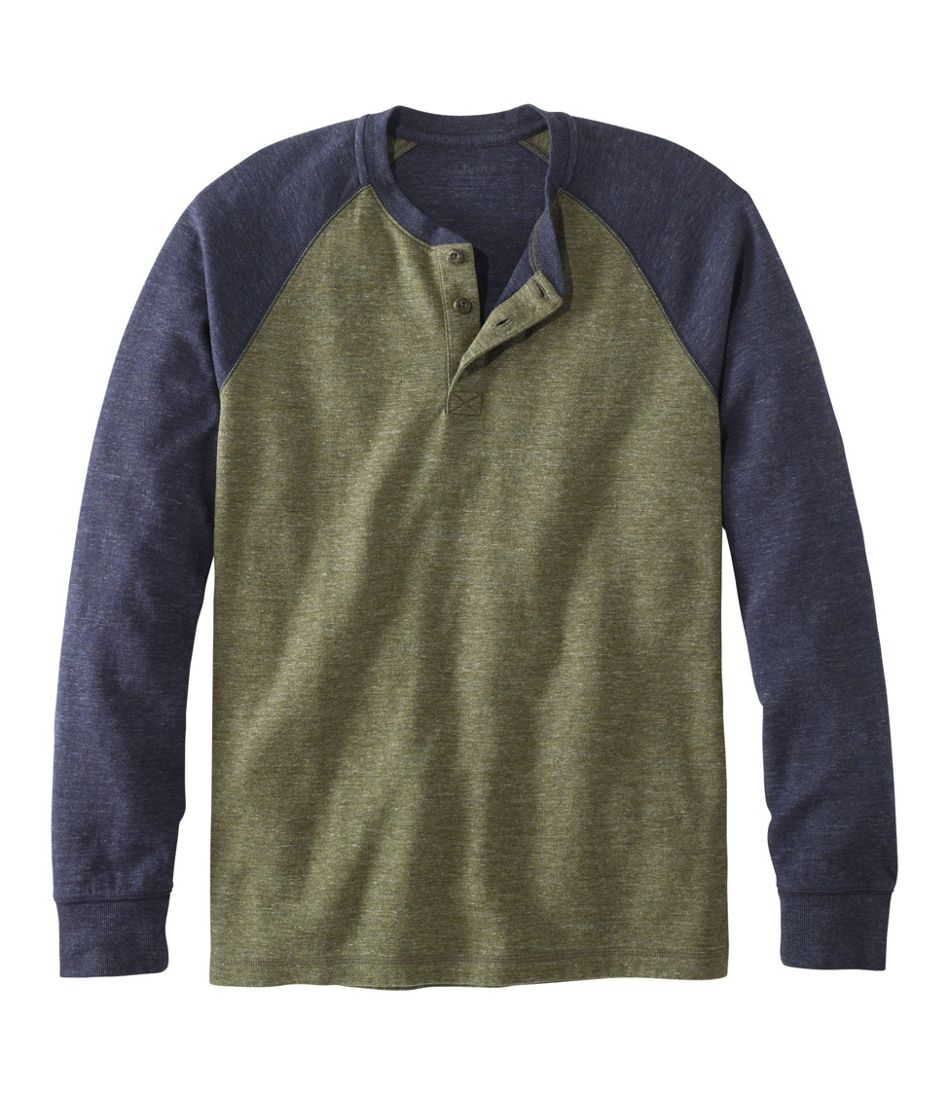 Washed Cotton Double-Knit Henley, Long-Sleeve, Colorblock