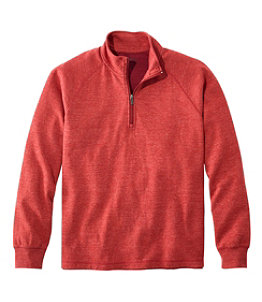 Men's Washed Cotton Double-Knit Shirts, Quarter-Zip Pullover