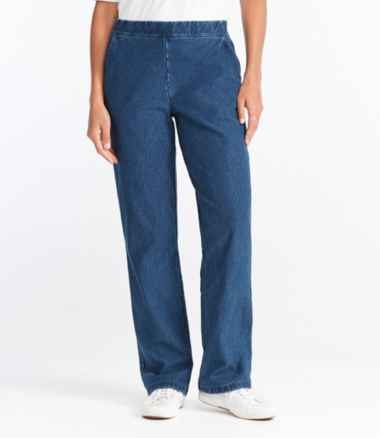 Women's Perfect Fit Pants, Fleece-Backed Straight-Leg Denim