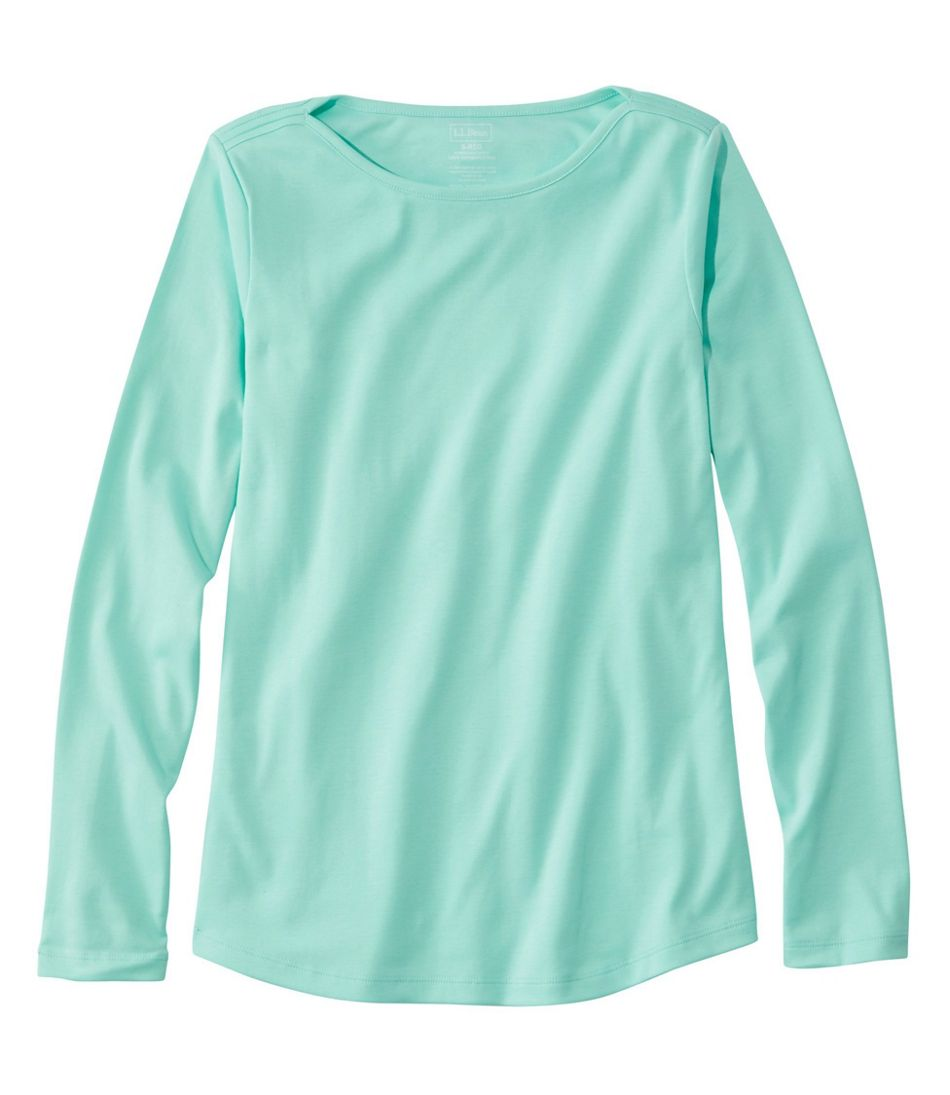 Pima Cotton Shaped Tee, Long-Sleeve Boatneck