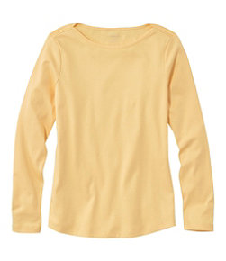 Women's Pima Cotton Shaped Tee, Long-Sleeve Boatneck