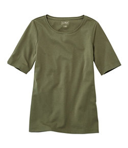 L.L.Bean Jewelneck Tee, Elbow-Sleeve