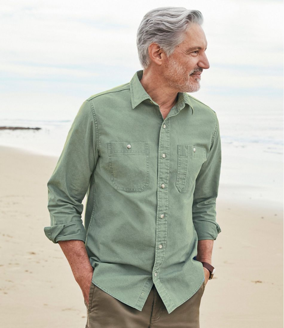 Sunwashed Canvas Shirt, Slightly Fitted, Long-Sleeve