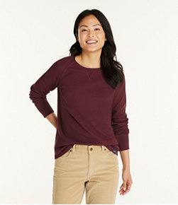 Women's Unshrinkable Mini-Waffle Tee, Long-Sleeve Crewneck