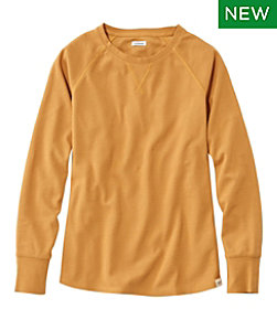 Unshrinkable Mini-Waffle Tee, Long-Sleeve Crewneck