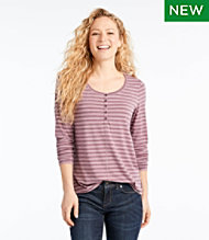 Women's Tencel Blend Long Sleeve Henley, Stripe