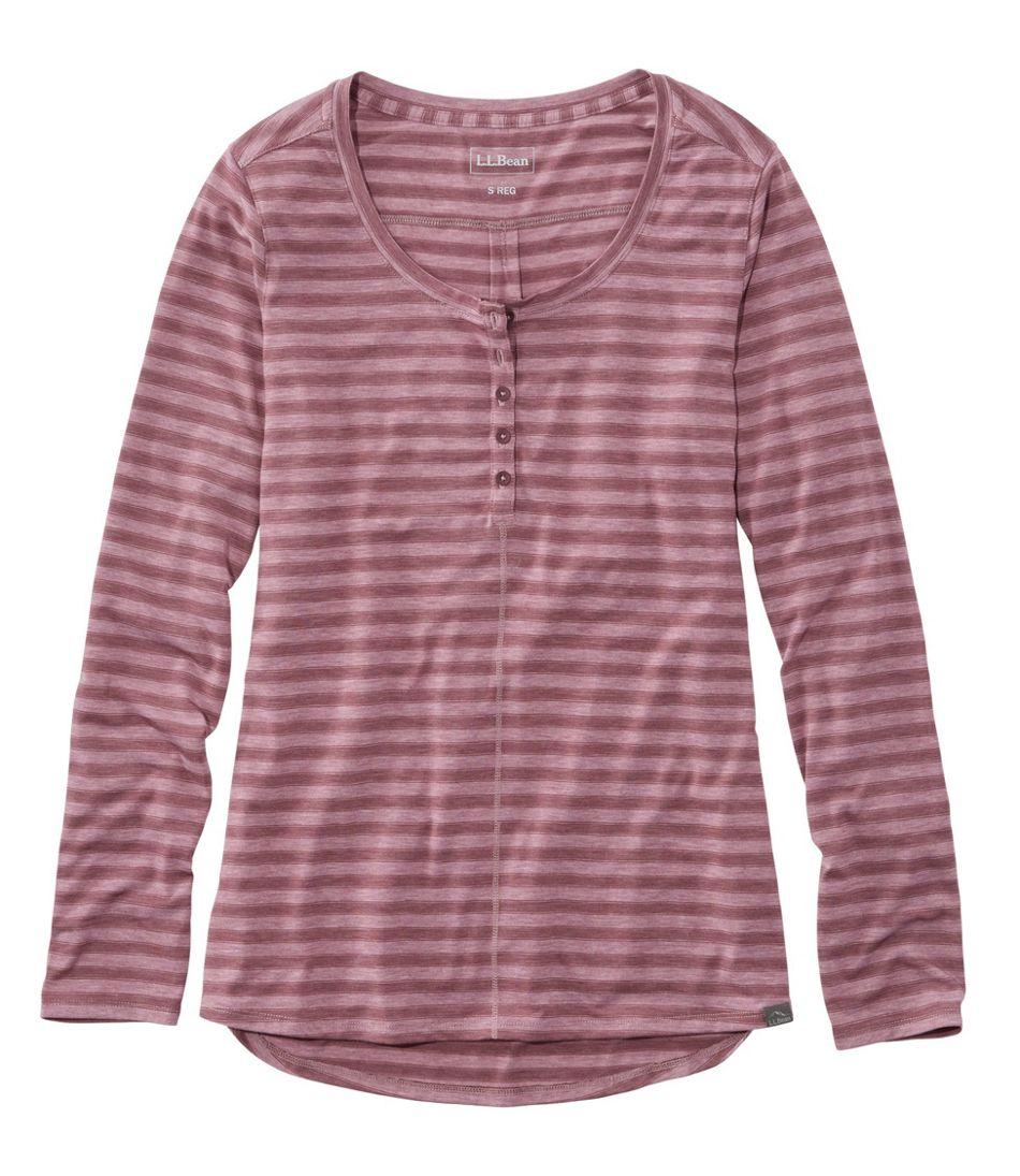 Women's Tencel Blend Long Sleeve Henley, Stripe