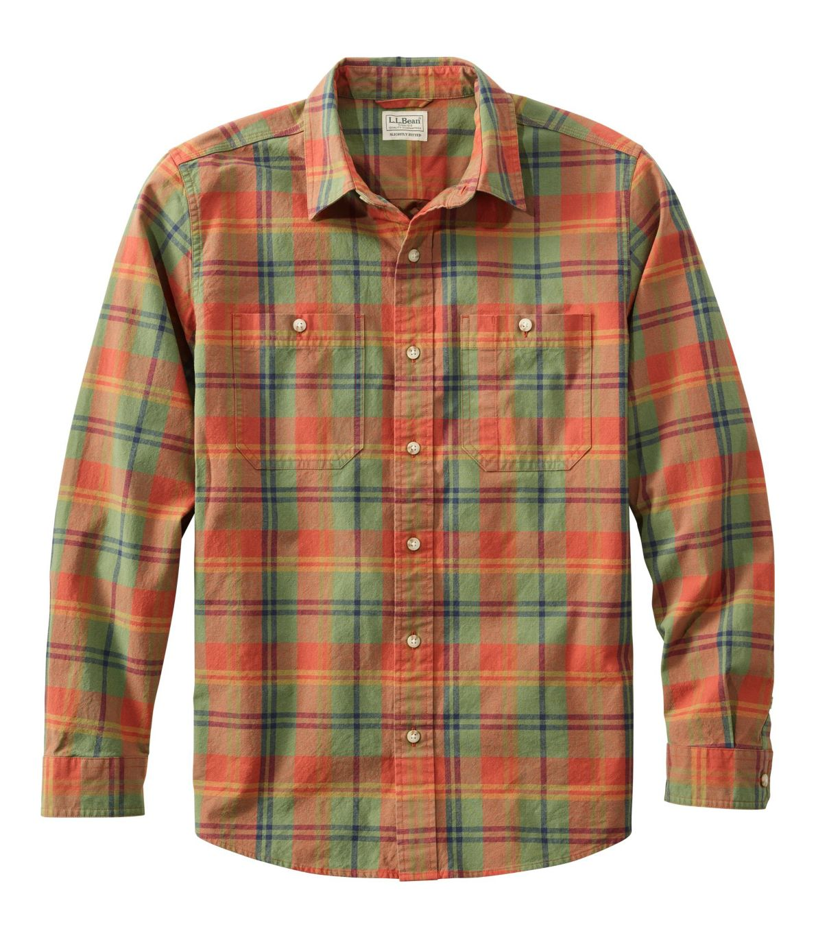 Men's Sunwashed Canvas Shirt, Slightly Fitted, Long-Sleeve Plaid