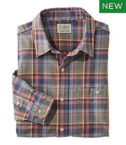 Sunwashed Canvas Shirt, Slightly Fitted, Long-Sleeve Plaid