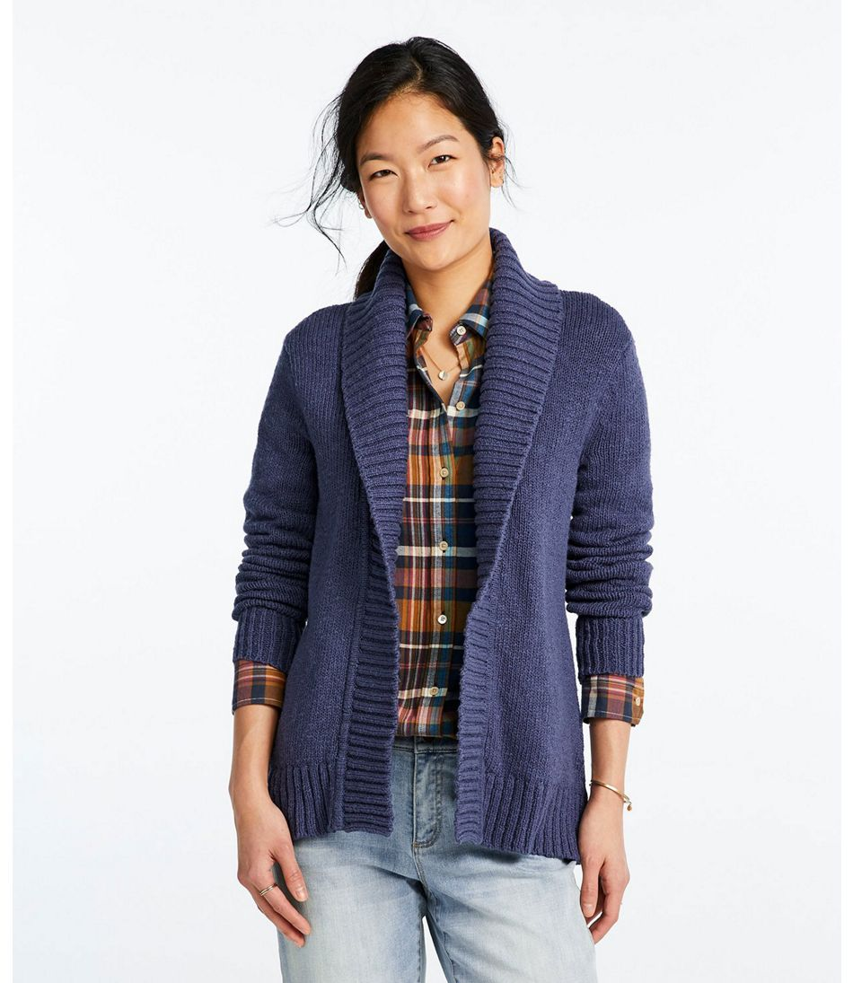 Women's Signature Cotton Slub Sweater, Long Cardigan