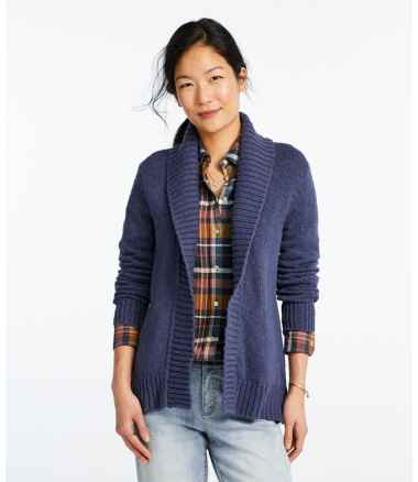 Women's Signature Cotton Slub Sweater, Long Cardigan