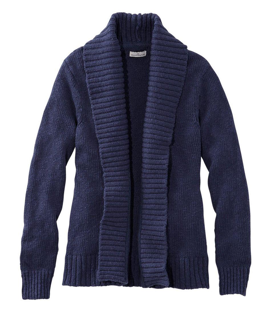 Signature Cotton Slub Sweater, Long Cardigan