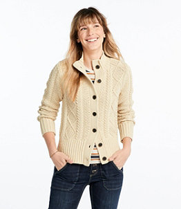 Women's Signature Cotton Fisherman Sweater, Short Cardigan
