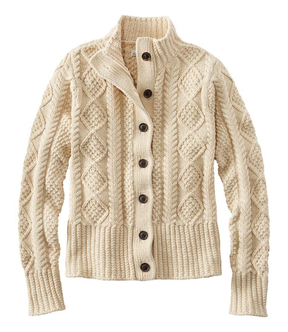 Women's Signature Cotton Fisherman Sweater, Short Cardigan