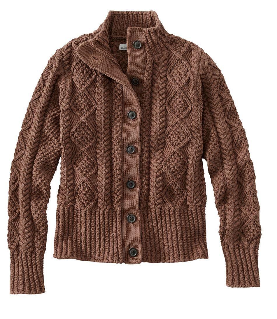 Signature Cotton Fisherman Sweater, Short Cardigan