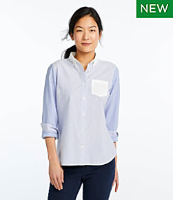 Lakewashed Organic Cotton Oxford Shirt, Colorblock