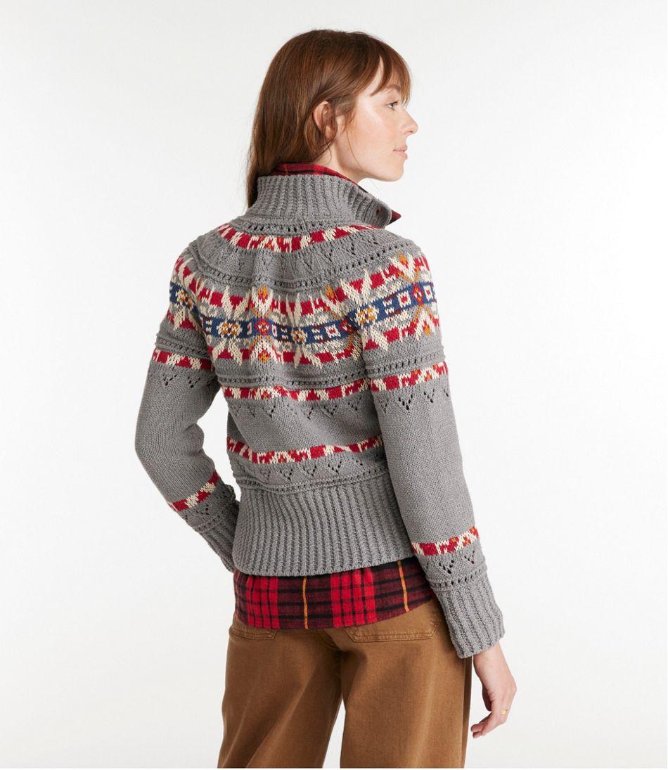 Signature Cotton Fisherman Sweater, Short Cardigan Fair Isle