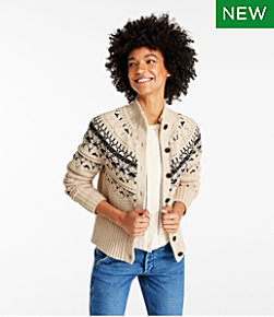 Signature Cotton Fisherman Sweater, Short Cardigan Fair Isle