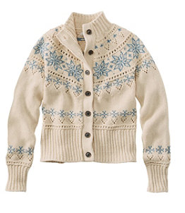 Women's Signature Cotton Fisherman Sweater, Short Cardigan Fair Isle
