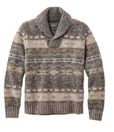 Men's Signature Ragg Wool Sweater, Shawl Pullover, Fair Isle
