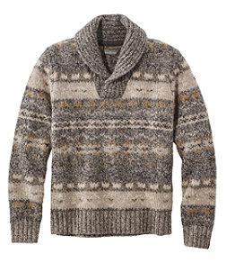 Men's Signature Ragg Wool Sweater, Shawl Pullover, Fair Isle