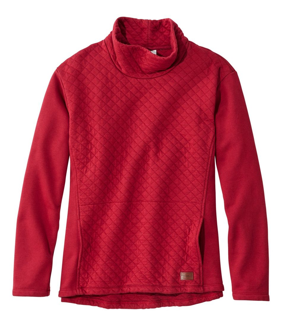 Quilted Sweatshirt Pullover, Funnelneck