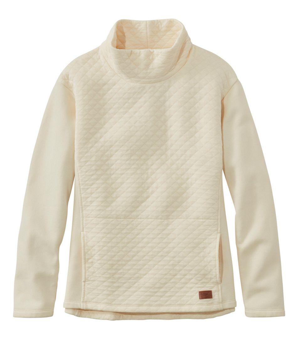 Women's Quilted Sweatshirt Pullover, Funnelneck