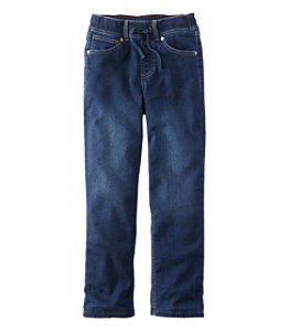 Kids' L.L.Bean Pull-On Stretch Jeans, Fleece Lined