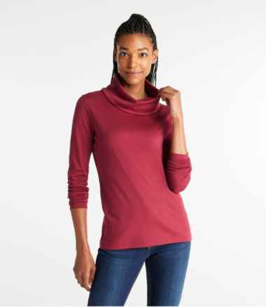 Pima Cotton Tee, Long-Sleeve Cowlneck