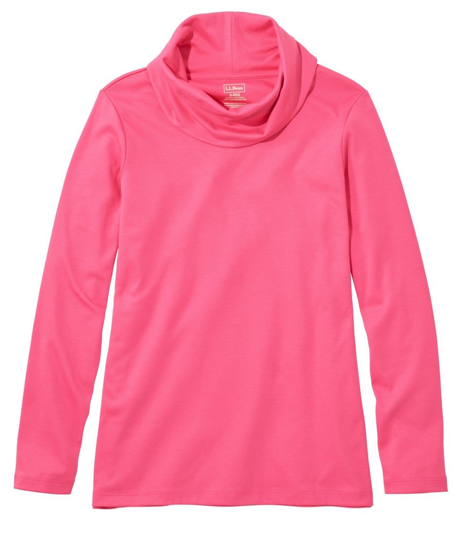 Women's Pima Cotton Tee, Long-Sleeve Cowlneck