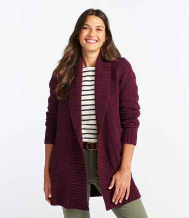 Women's L.L.Bean Classic Ragg Wool Sweater, Open Cardigan
