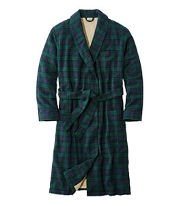 Men's Scotch Plaid Flannel Robe, Sherpa-Lined