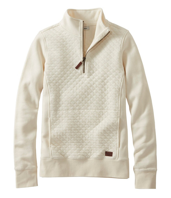 Quilted Sweatshirt Quarter-Zip Pullover, Cream, large image number 0