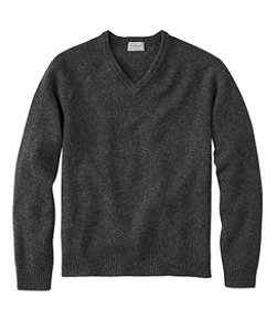 Men's Washable Lambswool Sweater, V-Neck