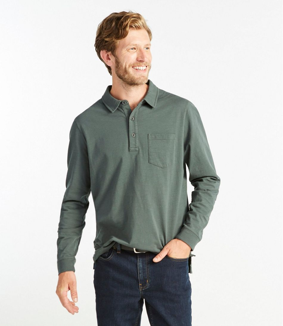 Lakewashed® Organic Cotton Polo with Pocket, Long-Sleeve