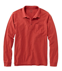 Men's Lakewashed Organic Cotton Polo with Pocket, Long-Sleeve