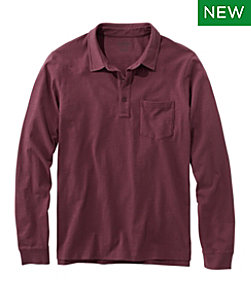 Lakewashed Organic Cotton Polo with Pocket, Long-Sleeve