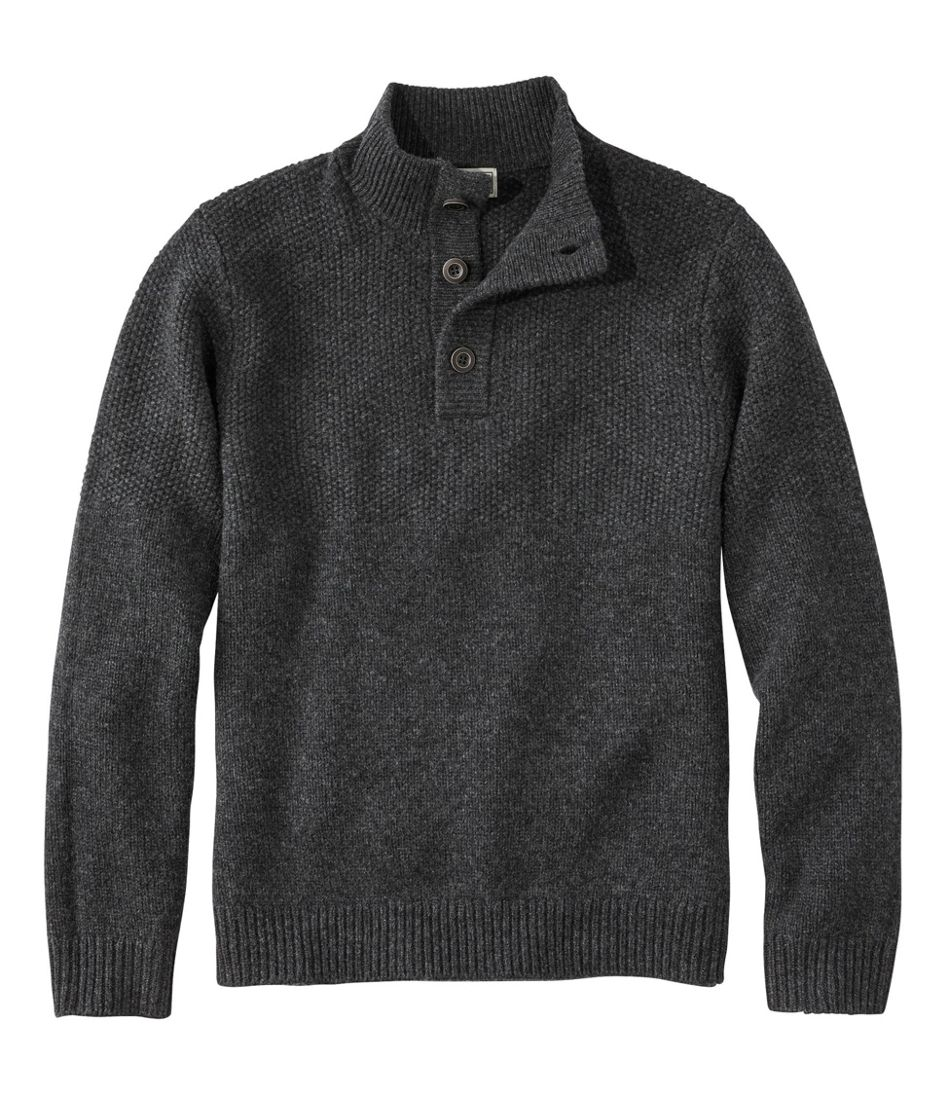 Men's Washable Lambswool Sweater, Button Mock