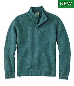 Washable Lambswool Sweater, Button Mock