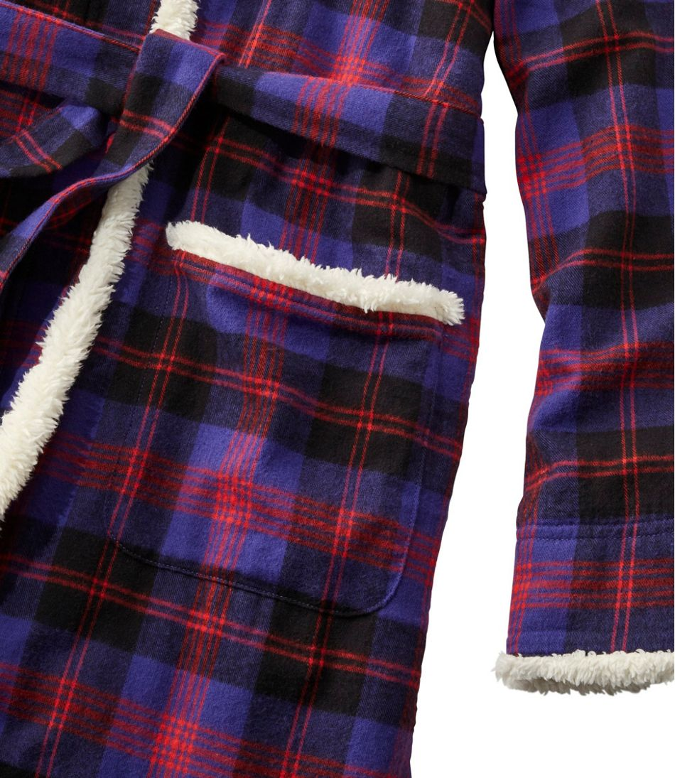 Women's Scotch Plaid Flannel Robe, Sherpa-Lined Long