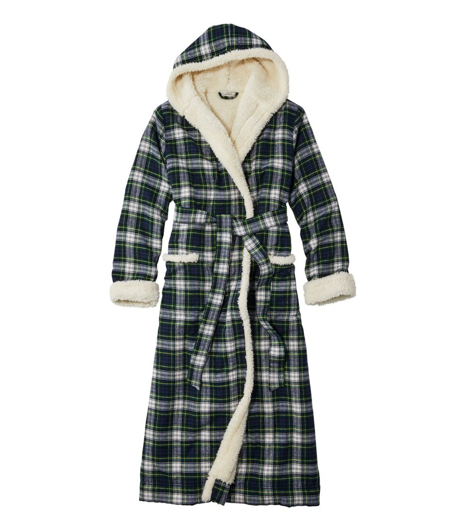 Scotch Plaid Flannel Robe, Sherpa-Lined Long